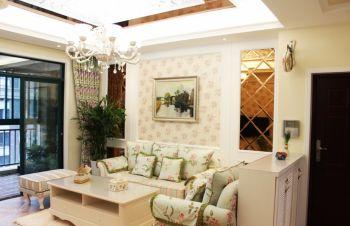 客厅彩色沙发田园风格装潢设计图片