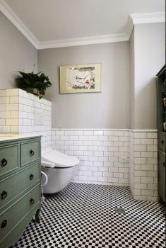 卫生间白色背景墙欧式风格装潢效果图