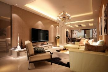 客厅黄色灯具现代简约风格装潢设计图片