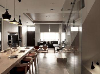 餐厅黑色灯具简约风格装饰图片