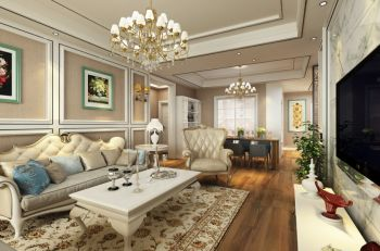 欧式风格110平米3房1厅房子装饰效果图
