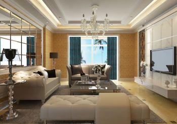 客厅白色灯具简欧风格装潢效果图