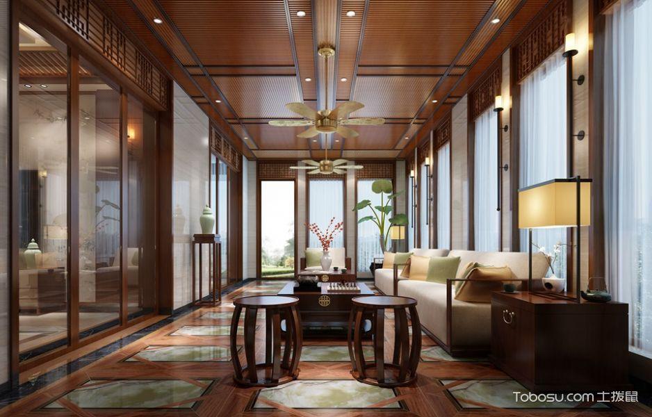 客厅 吊顶_新中式风格180平米别墅房子装饰效果图