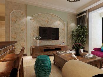 客厅黄色电视柜田园风格装修效果图