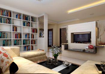 客厅白色书架现代简约风格装修效果图