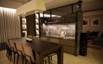 餐厅米色灯具现代简约风格装修图片