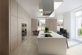 厨房白色吧台现代风格装修设计图片