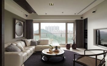 现代中式风格80平米两室一厅新房装修效果图