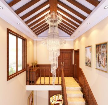 客厅楼梯古典风格装修图片