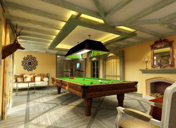 客厅黄色吊顶田园风格装潢效果图