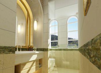 卫生间白色洗漱台田园风格装饰设计图片