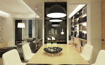 餐厅黑色灯具现代简约风格装饰效果图