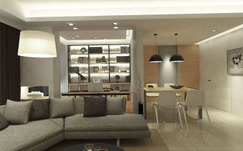 客厅白色地砖现代简约风格装潢效果图
