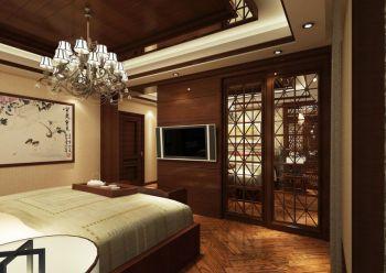 卧室咖啡色隔断中式风格装潢设计图片