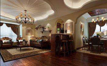 客厅咖啡色吧台欧式风格装修设计图片