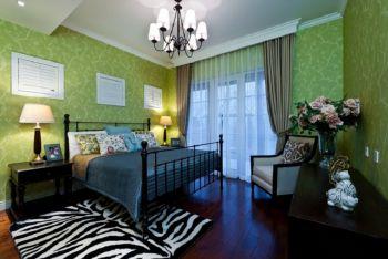 卧室绿色背景墙地中海风格装潢效果图