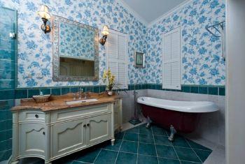 卫生间蓝色背景墙地中海风格装饰图片