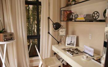 书房白色窗帘现代风格装潢效果图