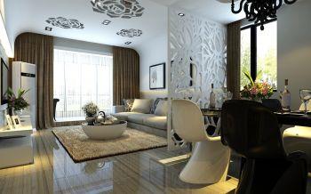 客厅白色隔断现代简约风格效果图
