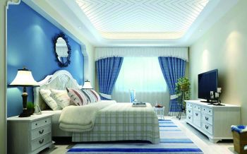 卧室蓝色背景墙地中海风格装饰设计图片