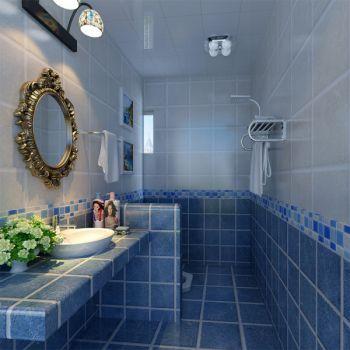 卫生间蓝色地板砖地中海风格效果图