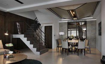 餐厅灰色楼梯现代简约风格装潢图片