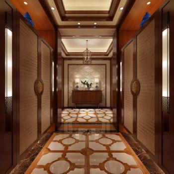 玄关咖啡色走廊新中式风格装潢设计图片