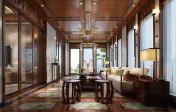 客厅咖啡色吊顶新中式风格效果图