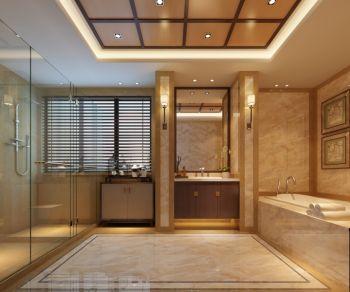 卫生间黄色背景墙新中式风格装饰效果图