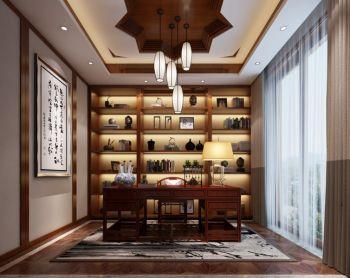 书房黄色博古架新中式风格装潢效果图