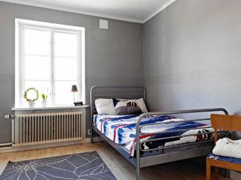 卧室灰色背景墙现代简约风格装潢图片