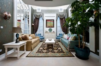 客厅白色茶几法式风格装修图片