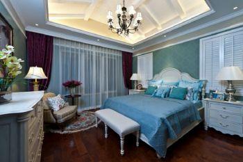 卧室紫色窗帘法式风格装修设计图片