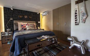 卧室咖啡色地板砖美式风格装饰效果图