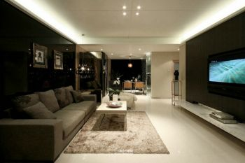 客厅白色地板砖现代简约风格装饰效果图