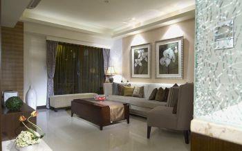 客厅黑色窗帘新中式风格效果图
