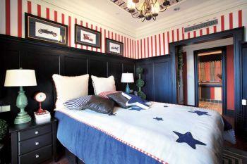 卧室黑色床头柜美式风格装饰效果图