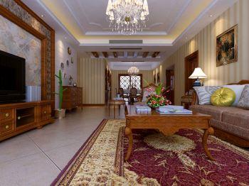 客厅咖啡色电视柜美式风格装饰图片