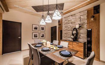 餐厅白色灯具现代简约风格装潢效果图