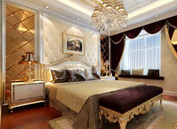 卧室红色窗帘简欧风格装饰图片