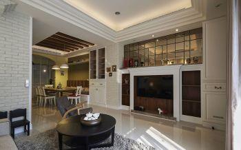 客厅黑色茶几北欧风格装潢设计图片