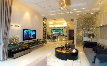 客厅黄色灯具现代简约风格装修设计图片