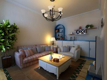 客厅黑色灯具地中海风格装修图片