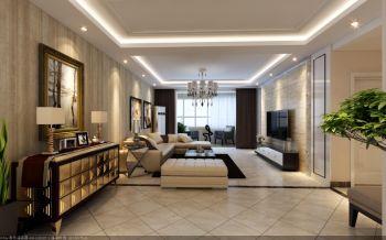 客厅白色灯具现代简约风格效果图