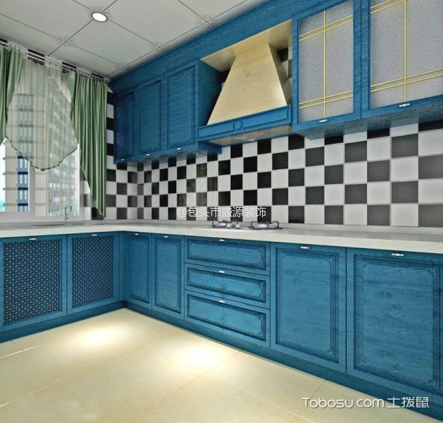 厨房 橱柜_地中海风格90平米两室两厅新房装修效果图