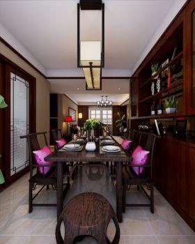 餐厅红色博古架新中式风格装饰设计图片