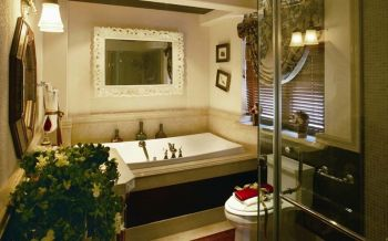 浴室白色浴缸混搭风格装饰效果图