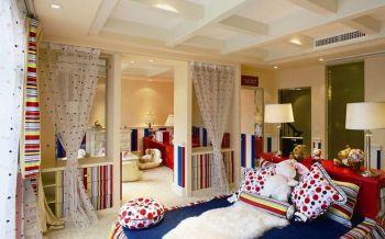 儿童房白色窗帘混搭风格装潢图片