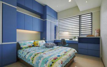 儿童房蓝色书桌现代简约风格装潢设计图片
