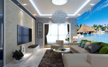 客厅白色地板砖现代风格装修图片